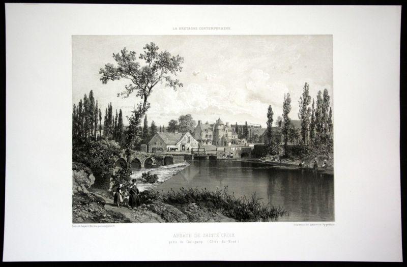 1860 Abbaye Sainte Croix de Guingamp vue Bretagne Frankreich France Lithographie 0