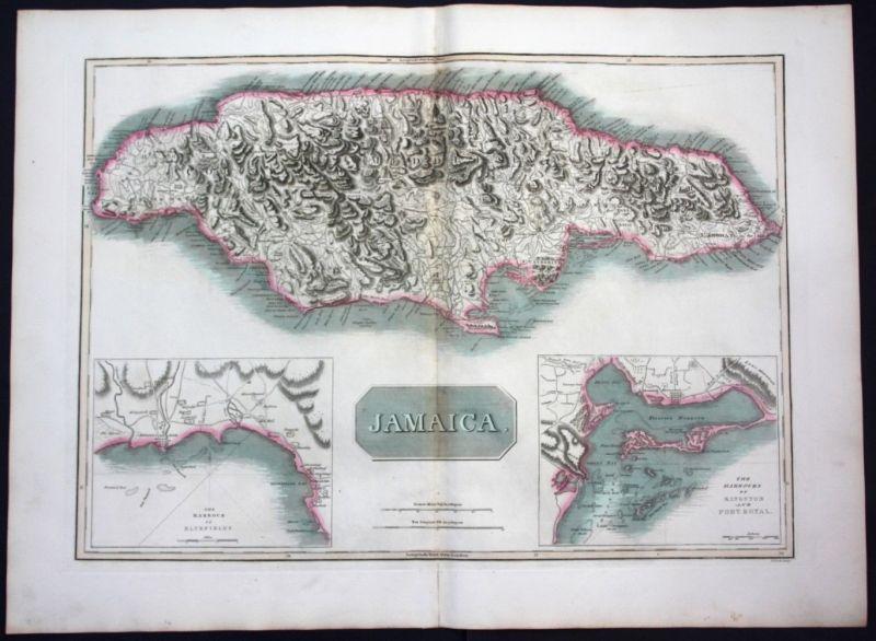 1817 Jamaica island America map Karte Thomson Kupferstich engraving