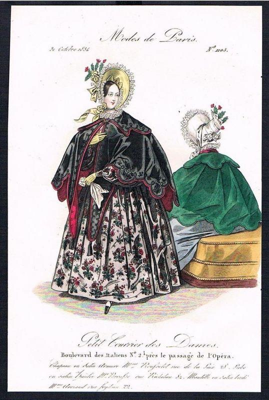 1834 Biedermeier Mode Kupferstich victorian fashion antique print Paris et 61732 0