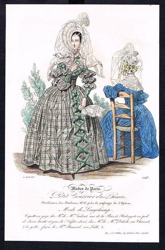 1836  Biedermeier Mode Kupferstich victorian fashion antique print Paris e 61786 0