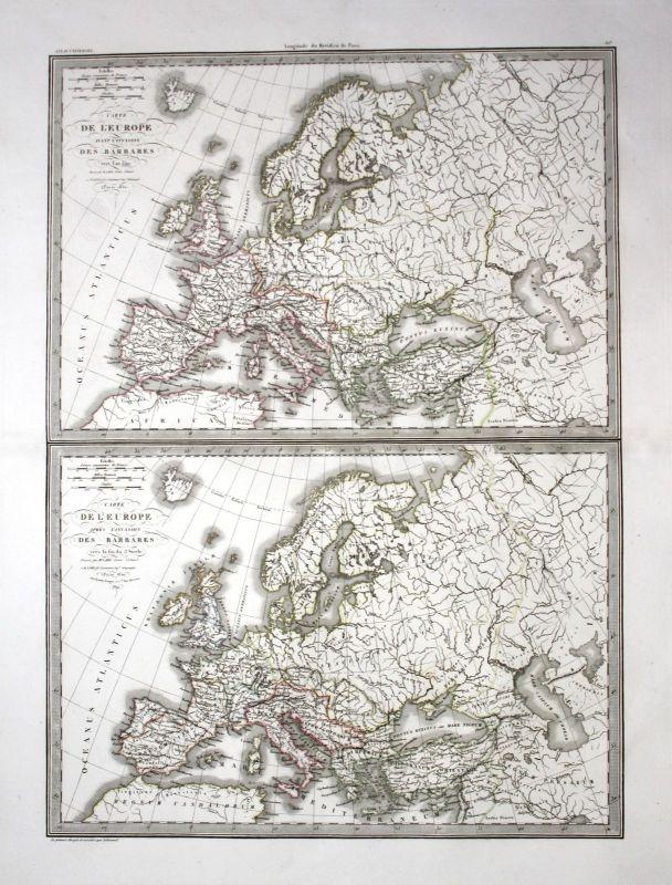 1830 - Europe Europa continent Kontinent 350 5. Jh. Karte map engraving Lapie 0