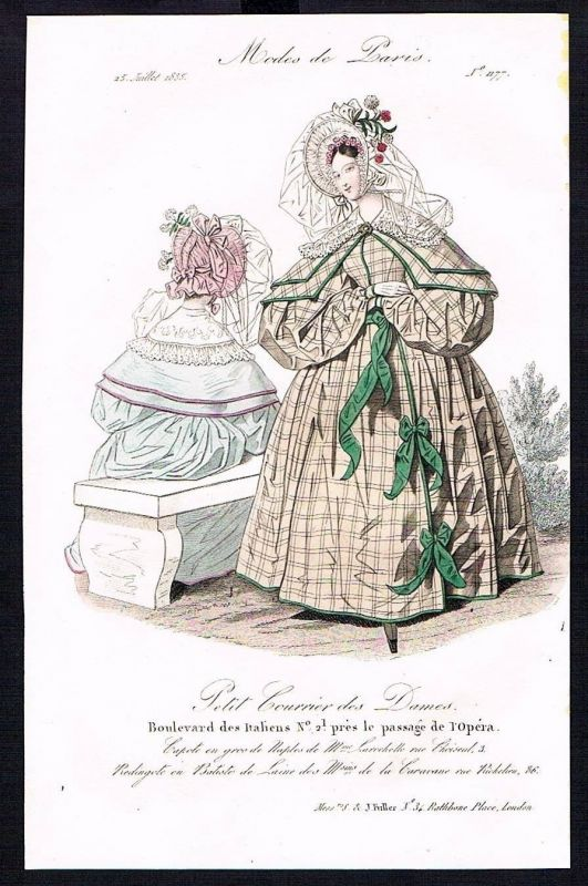 1835 Biedermeier Mode Kupferstich victorian fashion antique print Paris et 89271 0