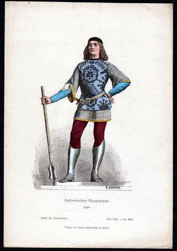 1880 - Hauptmann Italien Italy Militär Tracht Trachten costumes Grafik graphic