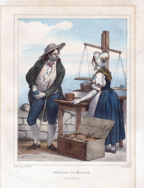 1840 Kanton Glarus Glaris Schweiz Suisse Kostüme costums Tracht Lithographie