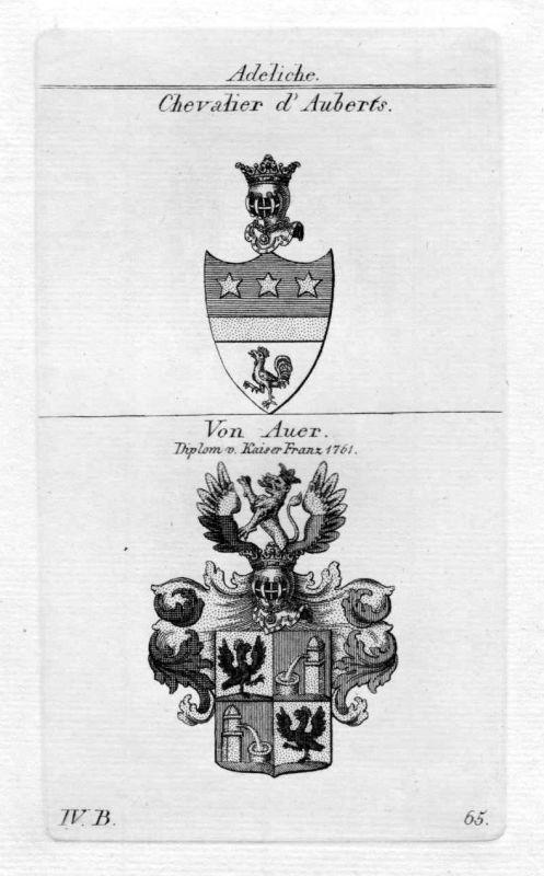 Aubert Auer - Wappen Adel coat of arms heraldry Heraldik Kupferstich 0