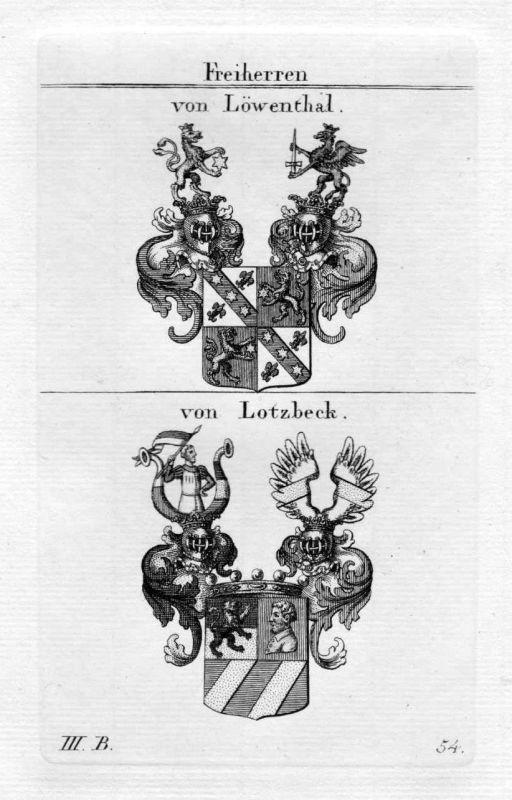 Löwental Lotzbeck - Wappen Adel coat of arms heraldry Heraldik Kupferstich 0