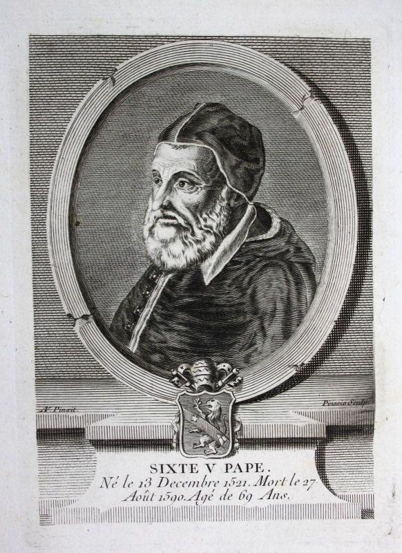 18. Jh. Pope Sixtus V Bishop Rome Papa Kupferstich Portrait engraving Papst 0