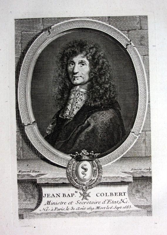 18. Jh. Jean Baptiste Colbert ministres secretaire gravure Portrait engraving 0