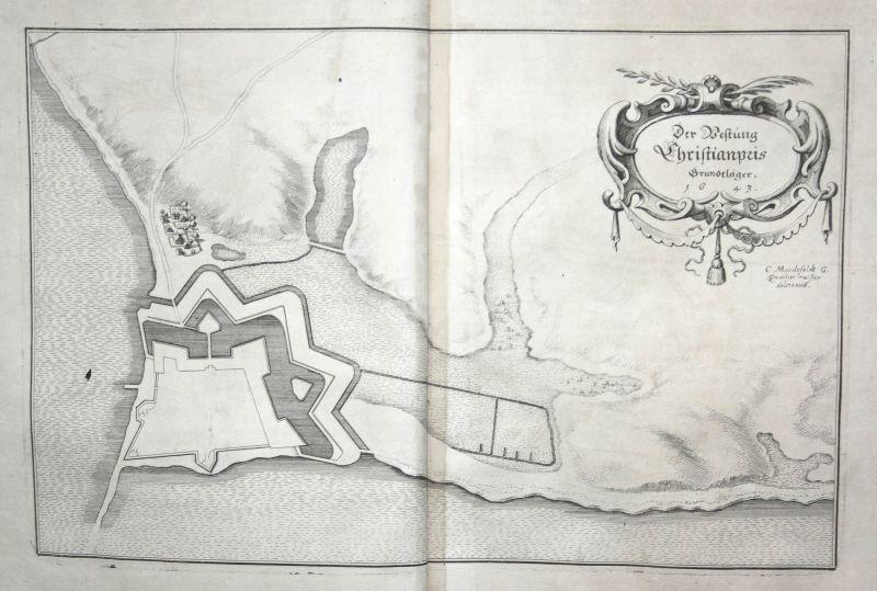 Festung Friedrichsort Kiel Karte map Plan Kupferstich antique print Merian 1650 0