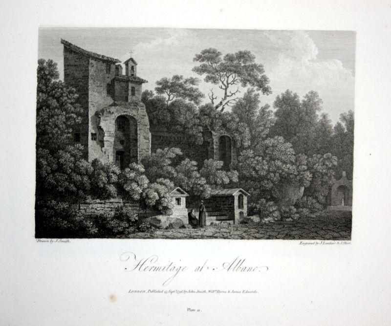 1796 Albano Latium veduta Italia acquaforte insicione Kupferstich engraving 0