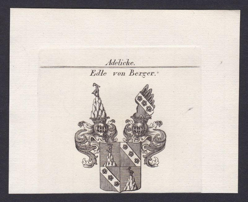 1820 Berger Hannover Wappen Adel coat of arms Heraldik Kupferstich antique print