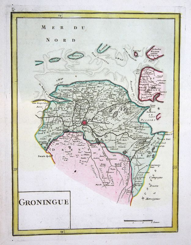 1767 Groningen Nederland Holland Karte map Kupferstich antique print Le Rouge 0