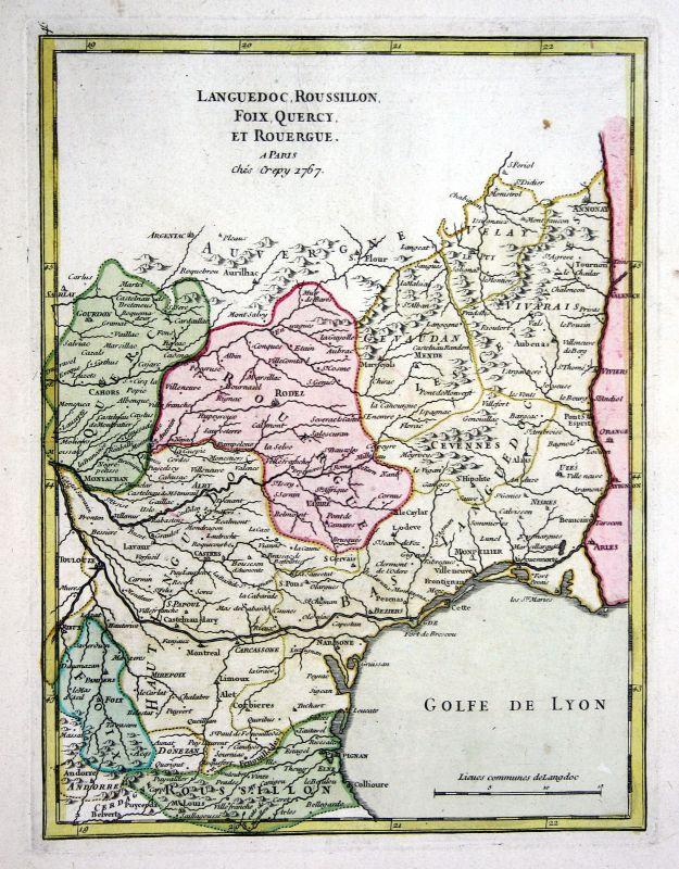 1767 Languedoc-Roussillon gravure carte map Kupferstich antique print Le  159535 0