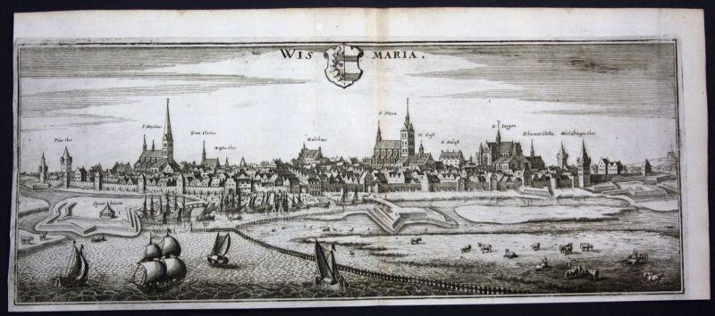 Wismar - Gesamtansicht / Panorama - Kupferstich Merian Merian: