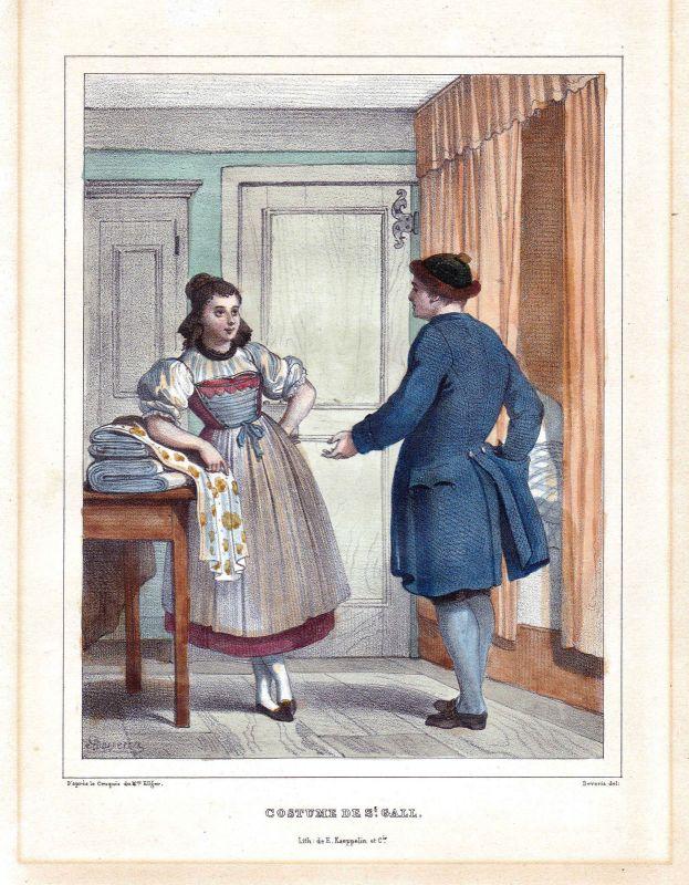 1840 St. Gallen St. Gall Schweiz Suisse Kostüme costums Tracht Lithographie 0