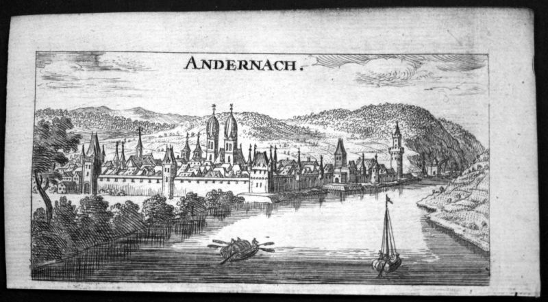 1685 Andernach Gesamtansicht Kupferstich Riegel 0