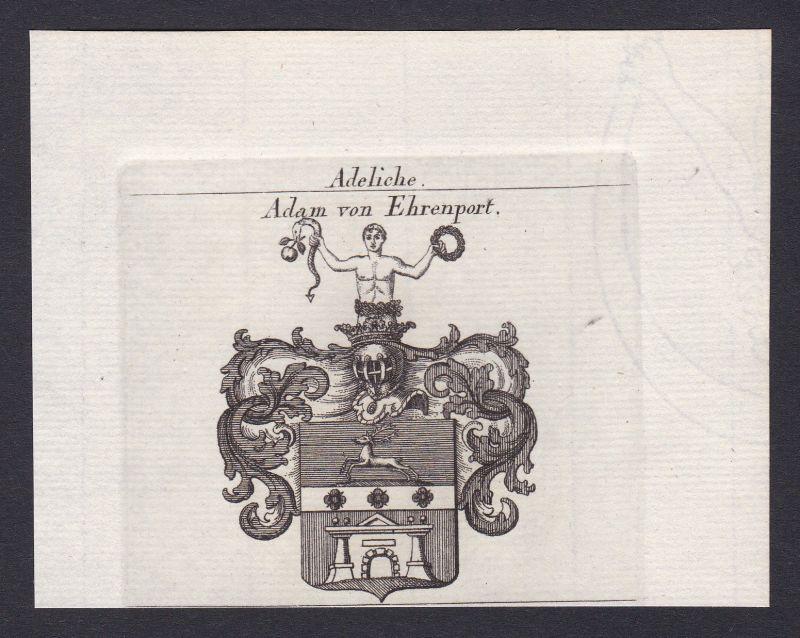 1820 Adam Ehrenport Wappen Adel coat of arms Heraldik Kupferstich antique print 0