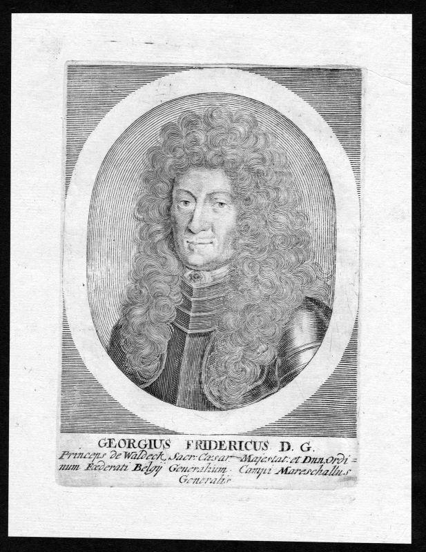 17. Jh. Georg Friedrich Generalfeldmarschall Portrait Kupferstich antique print