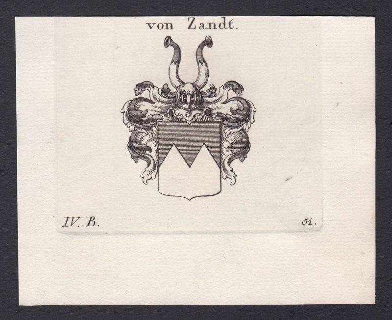 1820 Zandt Wappen Adel coat of arms heraldry Heraldik Kupferstich antique print 0