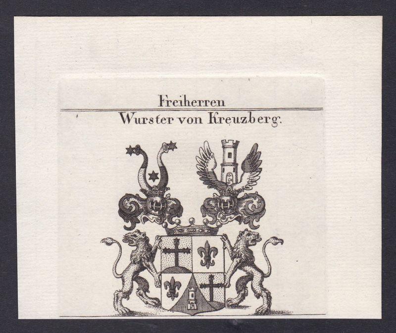 1820 Wurster Kreuzberg Wappen Adel coat of arms Kupferstich antique print 0