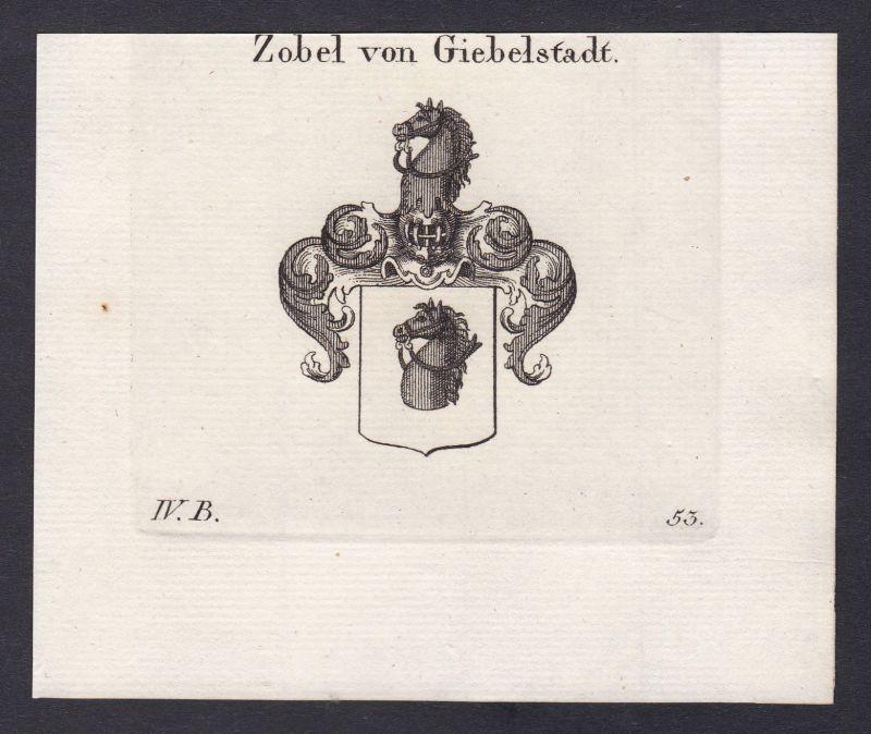 1820 Zobel Giebelstadt Schwaben Franken Wappen coat of arms Kupferstich 0