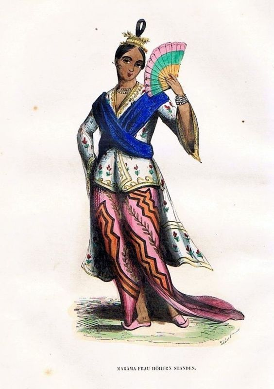 1845 Tibet Asia Asien Trachten Holzstich costumes antique print 0