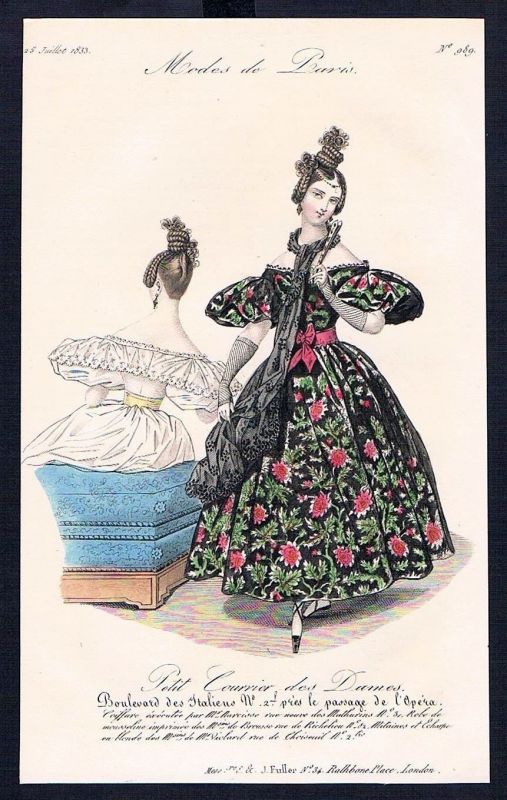 1833  Biedermeier Mode Kupferstich victorian fashion antique print Paris e 61705