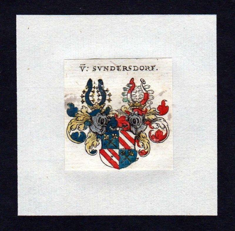 17. Jh von Sundersdorf Wappen Adel coat of arms heraldry Heraldik Kupferstich