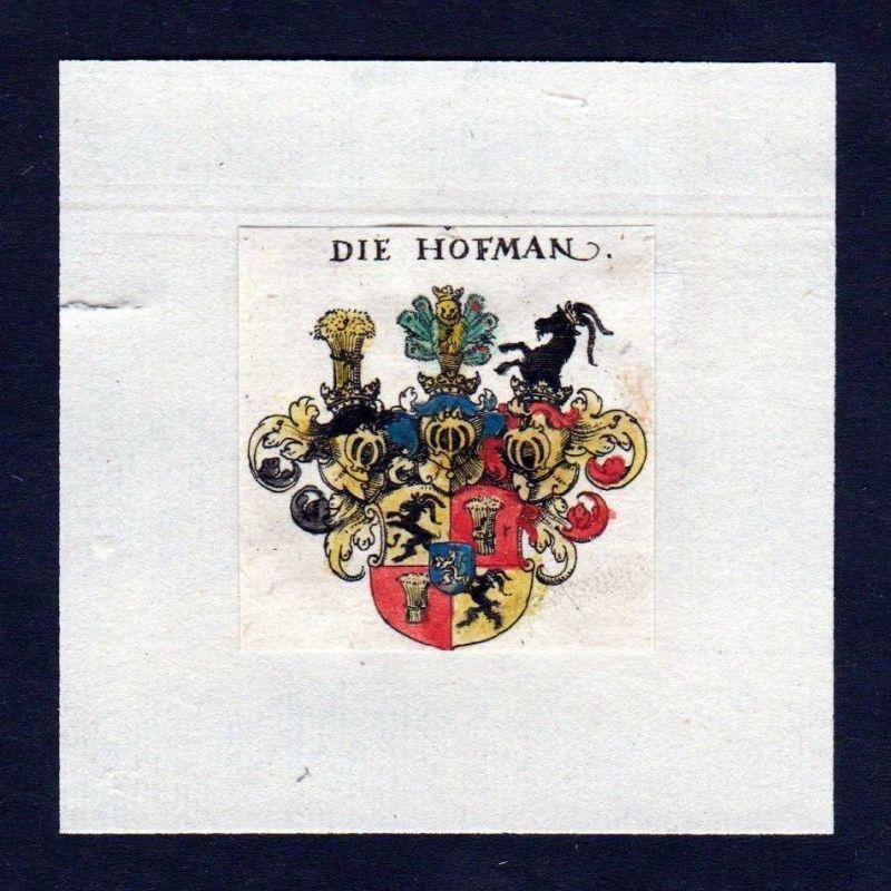 17. Jh Hofman Hofmann Wappen Adel coat of arms heraldry Heraldik Kupferstich 0