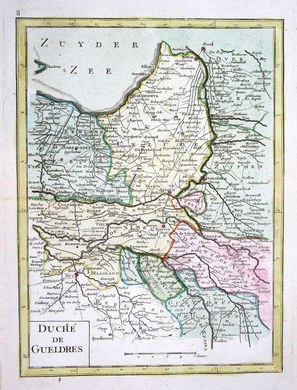 1767 Gelderland Nederland Arnheim Karte map Kupferstich antique print Le  159505