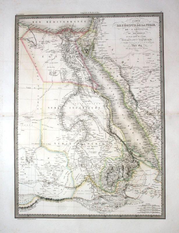 1829 - Egypt Sudan Eritrea Saudi Arabien Karte map Kupferstich engraving Lapie 0