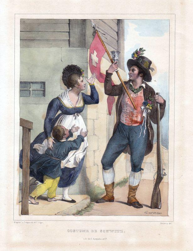 1840 Schwyz Schweiz Suisse Kostüme costums Tracht Lithographie