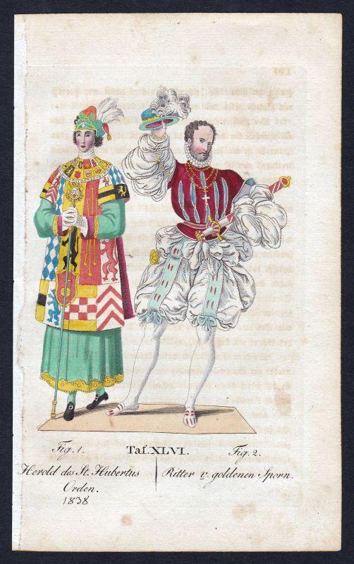 1820 Hubertusorden Ritterorden Orden v. Goldenen Sporn Kupferstich antique print