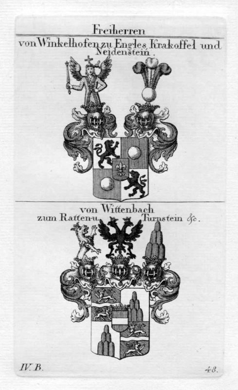 Winkelhofen Wittenbach - Wappen Adel coat of arms heraldry Heraldik Kupferstich 0