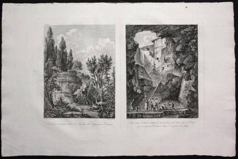1781 Catania Sicilia veduta stampa Kupferstich 0