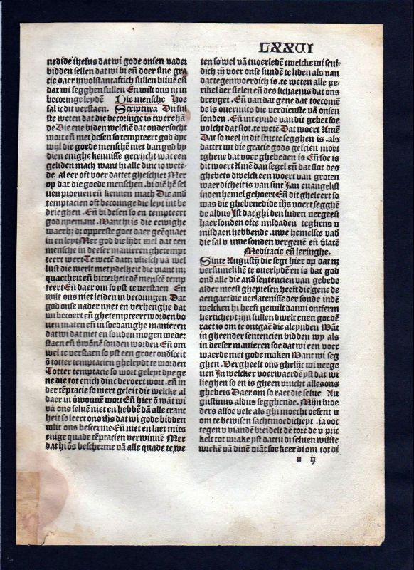 1499 Blatt LXXVI Inkunabel Vita Christi Zwolle incunable Dutch Holland 0