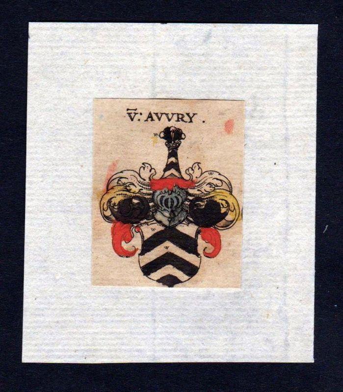 17. Jh Avvry Avery Wappen coat of arms heraldry Heraldik Kupferstich 0