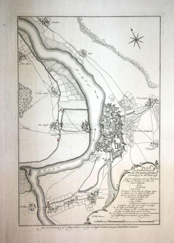1766 Belagerung von Düsseldorf 1758 Kupferstich Rhein Niederkassel Bilk 0