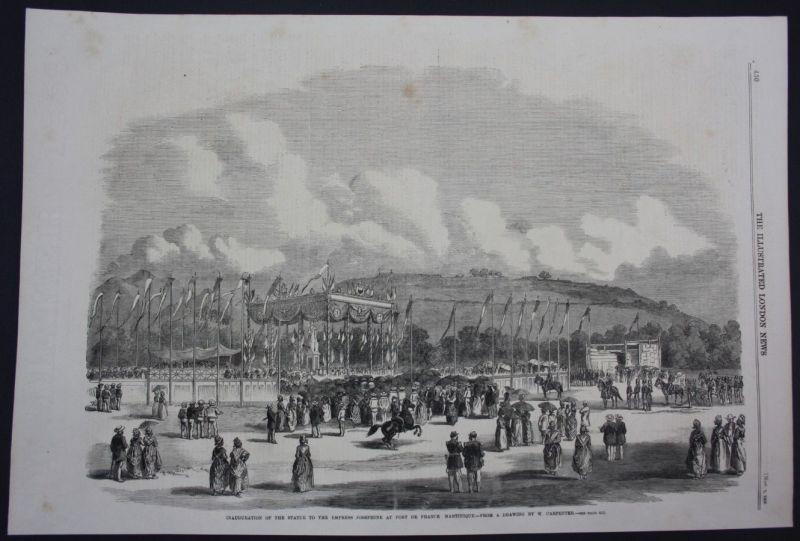 1859 Statue Fort de France Martinique Caribbean Holzschnitt antique print 0