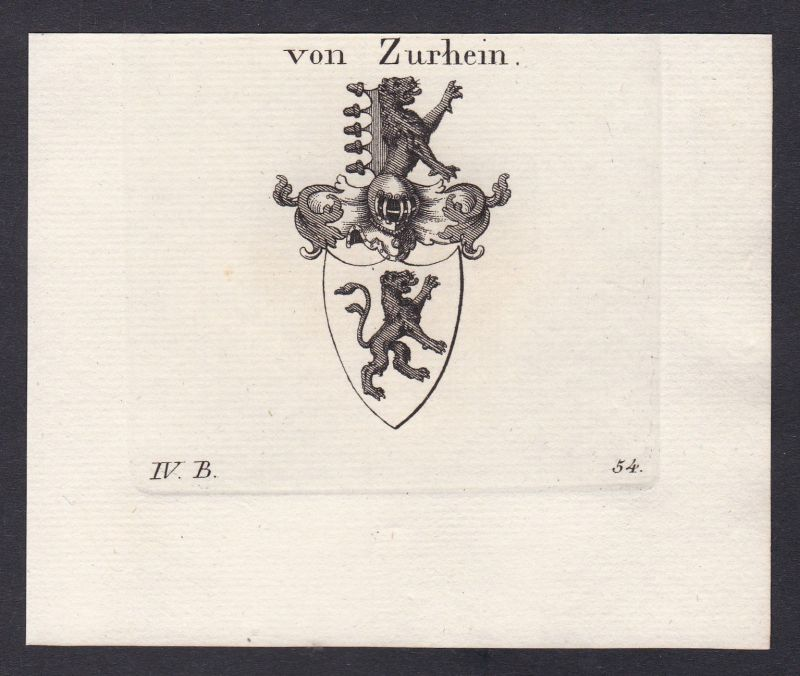 1820 Zu Rhein Rheinland Wappen Adel coat of arms Heraldik Kupferstich 0