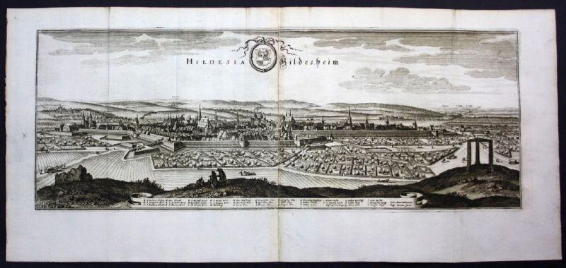 Hildesheim - Gesamtansicht / Panorama - Karte Kupferstich Merian Merian: