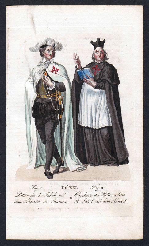 Ca. 1820 Orden Militar de Santiago de la Espada Ritterorden Kupferstich antique