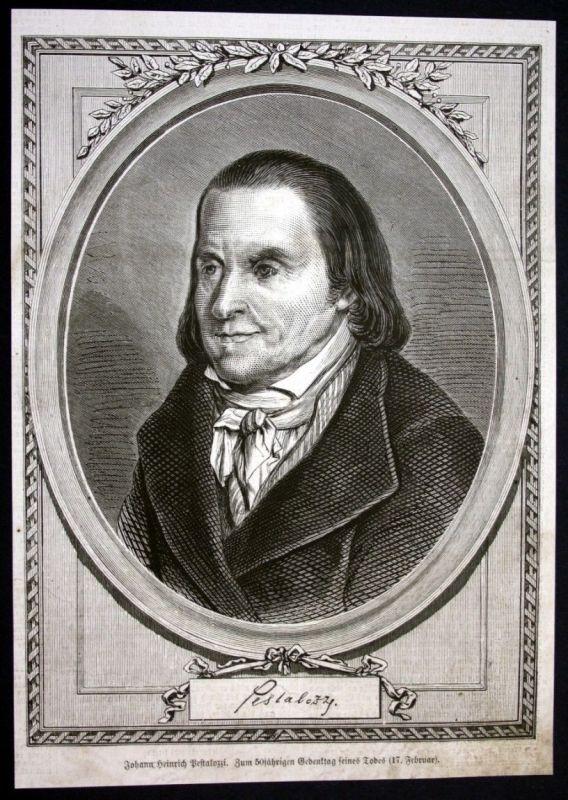 1877 Johann Heinrich Pestalozzi Pädagoge Portrait Holzstich antique print