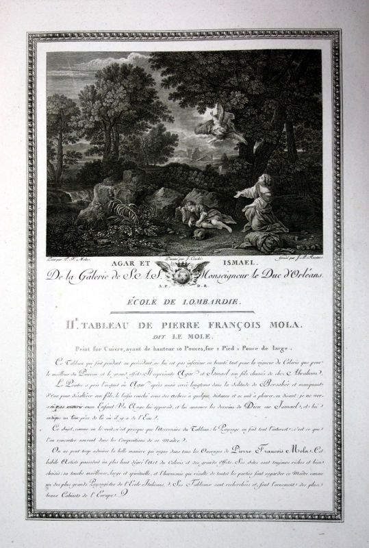 1786 Hagar Ismael Agar Bibel bible Kupferstich antique print Pier Francesco Mola