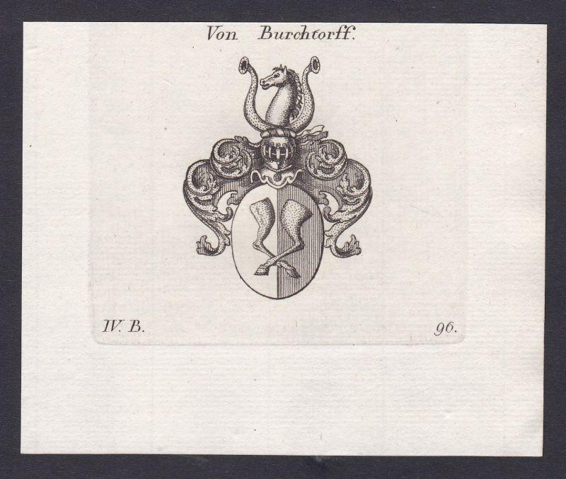 1820 Burchtorff Wappen Adel coat of arms Heraldik Kupferstich antique print