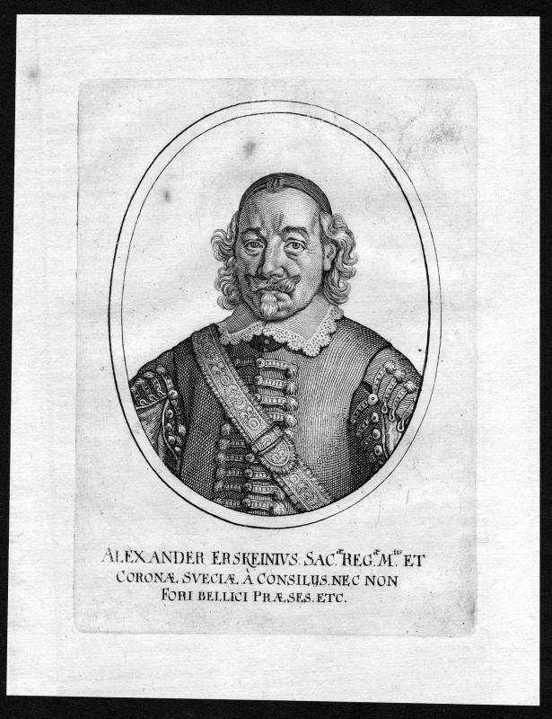 17. Jh. Alexander Erskein Jurist Greifswald Portrait Kupferstich antique print