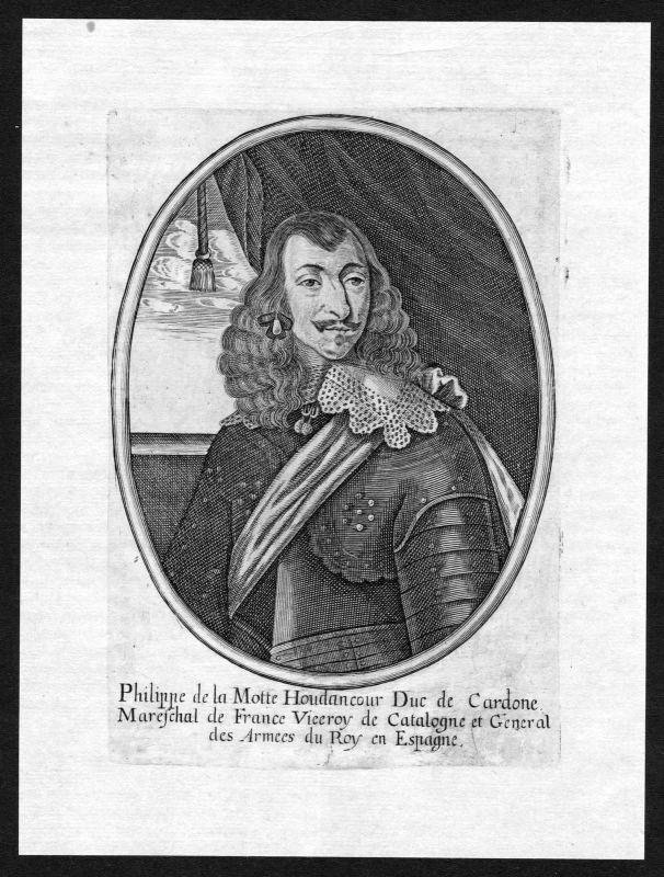 1650 Philippe de La Mothe-Houdancourt Portrait Kupferstich antique print gravure