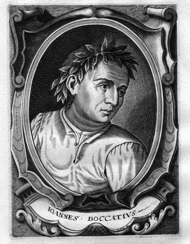 Ca. 1680 Giovanni Boccatius Schriftsteller writer Kupferstich Portrait engraving