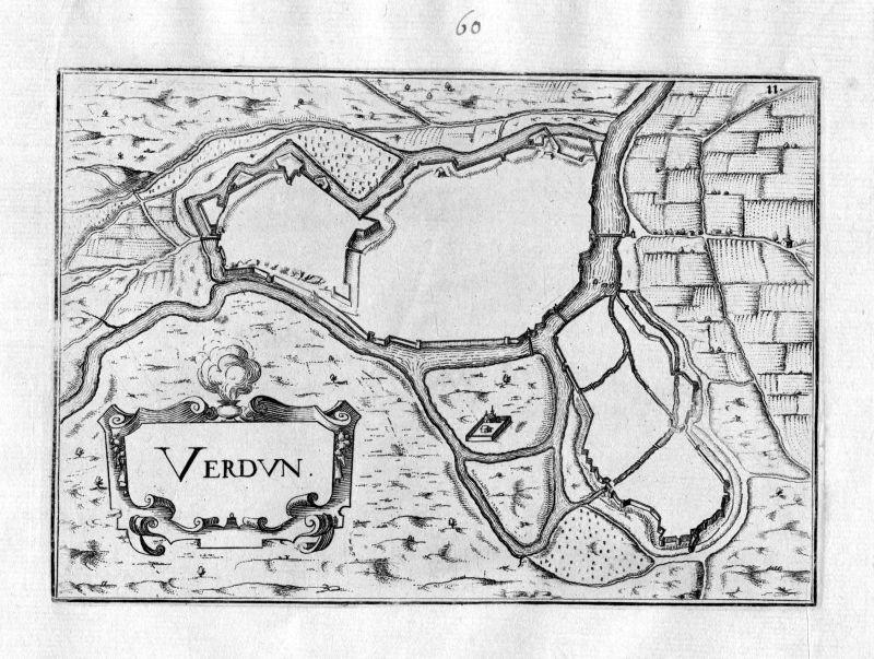 1630 Verdun Meuse France Frankreich Kupferstich Karte map gravure plan Tassin