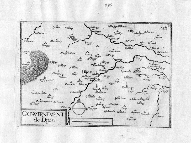 Ca. 1630 Dijon Cote-d'Or Bourgogne Frankreich gravure carte Kupferstich Tassin